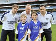27 September 2010; Aidan Campbell and Aaron Hegarty, from Sligo, with Kildare manager Kieran McGeeney, Declan Moran, Director of Marketing and Business Development Vhi, and Cavan footballer Paul Brady. Vhi GAA Cúl Day Out 2010, Croke Park, Dublin. Picture credit: Oliver McVeigh / SPORTSFILE
