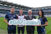 "3 August 2016; Pictured at the launch of the 2016 GAA Health & Wellbeing Theme Day, ""Little Things can improve your game"" taking place on August 28th in Croke Park are, from left, Cavan footballer Alan O'Mara, Galway footballer Gary Sice, Uachtarán Chumann Lúthchleas Gael Aogán Ó Fearghail, and Cork Camogie player Ashling Thompson. Croke Park, Dublin. Photo by Piaras Ó Mídheach/Sportsfile"