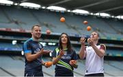 "3 August 2016; Pictured at the launch of the 2016 GAA Health & Wellbeing Theme Day, ""Little Things can improve your game"" taking place on August 28th in Croke Park are, from left, Cavan footballer Alan O'Mara, Cork camogie player Ashling Thompson and Galway footballer Gary Sice. Croke Park, Dublin. Photo by Piaras Ó Mídheach/Sportsfile"