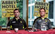 3 August 2016; Donegal manager Rory Gallagher, left, and captain Michael Murphy during a press conference at the Abbey Hotel, Donegal Town. Photo by Oliver McVeigh/Sportsfile