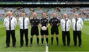 30 July 2016; Referee Jerome Henry, centre, and his team of officials before the Electric Ireland GAA Football All-Ireland Minor Championship Quarter-Final match between Donegal and Cork at Croke Park in Dublin. Photo by Oliver McVeigh/Sportsfile