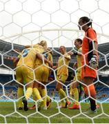 3 August 2016; Sweden players celebrate after Nilla Fischer scores her side's winning goal during the Women's Football first round Group E match between Sweden and South Africa on Day -2 of the Rio 2016 Olympic Games at the Olympic Stadium in Rio de Janeiro, Brazil. Photo by Stephen McCarthy/Sportsfile