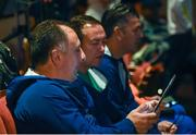 4 August 2016; The Ireland boxing coaching team, from left to right, Zaur Antia, Eddie Bolger and John Conlan at the boxing draw in the Teatro Badesco Theatre ahead of the start of the 2016 Rio Summer Olympic Games in Rio de Janeiro, Brazil. Photo by Ramsey Cardy/Sportsfile