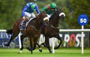 4 August 2016; Eventual winner Stellar Mass, left, with Kevin Manning up, race ahead of Almela, eventual second place, with Pat Smullen up, on their way to winning the Ballyroan Stakes during the Bulmers Evening Meeting at Leopardstown in Dublin.  Photo by Cody Glenn/Sportsfile