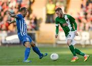 4 August 2016; Kevin O'Connor of Cork City in action against Thomas Buffel of KRC Genk during the Europa League Third Qualifying Round 1st Leg match between Cork City and KRC Genk at Turners Cross, Cork. Photo by Eóin Noonan/Sportsfile
