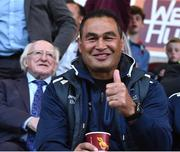 5 August 2016; Connacht head coach Pat Lam and The President of Ireland Michael D. Higgins during the SSE Airtricity League Premier Division match between Galway United and Dundalk at Eamonn Deasy Park in Galway. Photo by David Maher/Sportsfile