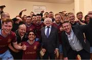 5 August 2016; The President of Ireland Michael D. Higgins with the Galway United team and staff in their dressing room after defeating Dundalk during the SSE Airtricity League Premier Division match between Galway United and Dundalk at Eamonn Deasy Park in Galway. Photo by David Maher/Sportsfile