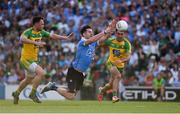 6 August 2016; Diarmuid Connolly of Dublin in action against Martin McElhinney, left, and Karl Lacey of Donegal during the GAA Football All-Ireland Senior Championship Quarter-Final match between Dublin and Donegal at Croke Park in Dublin. Photo by Ray McManus/Sportsfile
