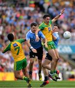 6 August 2016; Dublin's Kevin McManamon, left, and Philly McMahon in action against Donegal's Frank McGlynn, left, and Rory Kavanagh during the GAA Football All-Ireland Senior Championship Quarter-Final match between Dublin and Donegal at Croke Park in Dublin. Photo by Piaras Ó Mídheach/Sportsfile