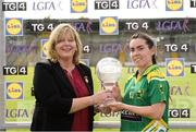 6 August 2016; LGFA President Marie Hickey presents Sarah Houlihan of Kerry with her player of the match trophy TG4 All-Ireland Senior Championship match between Kerry and Waterford at St Brendan's Park in Birr, Co Offaly. Photo by Matt Browne/Sportsfile