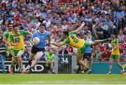6 August 2016; Diarmuid Connolly of Dublin in action against Martin O'Reilly, left, and Rory Kavanagh of Donegal during the GAA Football All-Ireland Senior Championship Quarter-Final match between Dublin and Donegal at Croke Park in Dublin. Photo by Ray McManus/Sportsfile