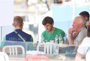 7 August 2016; Gary O'Donovan, left, and Paul O'Donovan, centre, of Ireland wait as their event is delayed in Lagoa Stadium, Copacabana, during the 2016 Rio Summer Olympic Games in Rio de Janeiro, Brazil. Photo by Brendan Moran/Sportsfile