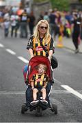 7 August 2016; Kilkenny supporters Sorcha Redmond, and her son Cillian, aged 3, from Greensbridge, Co Kilkenny, ahead of the GAA Hurling All-Ireland Senior Championship Semi-Final match between Kilkenny and Waterford at Croke Park in Dublin. Photo by Daire Brennan/Sportsfile
