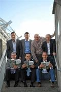 """12 October 2010; """"Voices from Croke Park"""", a book containing essays charting the journey of 12 true GAA greats who pursued that elusive glory in Ireland's greatest sporting Arena, was launched today by GPA Chairman Dónal Óg Cusack. Attending the launch are, front row from left, Eamonn O'Donoghue, Cork hurling, Ciaran Whelan, Dublin football, and Liam McHale, Mayo football, back row from left, Bernard Flynn, Meath football, GPA Chairman Dónal Óg Cusack , Anthony Molloy, Donegal football, and Peter Canavan, Tyrone football, who are all featured in the book. The Croke Park Hotel, Jones's Road, Dublin. Picture credit: Brian Lawless / SPORTSFILE"""
