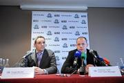 14 October 2010; Ireland International Rules manager Anthony Tohill, right, in the company of Fergal Mac Giolla, Operations Manager of the GAA, speaking during the squad announcement ahead of their first match against Australia on October 23rd. Ireland International Rules squad announcement, Croke Park, Dublin. Picture credit: Brendan Moran / SPORTSFILE