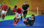 7 August 2016; Mark Gleghorne of Great Britain in action against Shea McAleese of New Zealand during their Pool B match at the Olympic Hockey Centre, Deodoro, during the 2016 Rio Summer Olympic Games in Rio de Janeiro, Brazil. Photo by Brendan Moran/Sportsfile