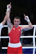 7 August 2016; David Oliver Joyce of Ireland celebrates after beating Andrique Allisop of Seychelles in their Lightweight preliminary round of 32 bout in the Riocentro Pavillion 6 Arena, Barra da Tijuca, during the 2016 Rio Summer Olympic Games in Rio de Janeiro, Brazil. Photo by Ramsey Cardy/Sportsfile