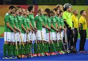 7 August 2016; The Ireland team stand for the national anthem ahead of their Pool B match at the Olympic Hockey Centre, Deodoro, during the 2016 Rio Summer Olympic Games in Rio de Janeiro, Brazil. Picture by Brendan Moran/Sportsfile