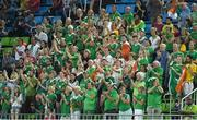 7 August 2016; Ireland fans cheer on their team during their Pool B match against the Netherlands at the Olympic Hockey Centre, Deodoro, during the 2016 Rio Summer Olympic Games in Rio de Janeiro, Brazil. Picture by Brendan Moran/Sportsfile