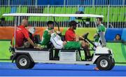 7 August 2016; Conor Harte of Ireland is stetchered off in the first quarter during their Pool B match against the Netherlands at the Olympic Hockey Centre, Deodoro, during the 2016 Rio Summer Olympic Games in Rio de Janeiro, Brazil. Picture by Brendan Moran/Sportsfile