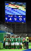 7 August 2016; The Ireland team huddle at the end of the third quarter as they trail by four to the Netherlands during their Pool B match at the Olympic Hockey Centre, Deodoro, during the 2016 Rio Summer Olympic Games in Rio de Janeiro, Brazil. Picture by Brendan Moran/Sportsfile