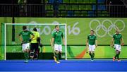 7 August 2016; Ireland players react after conceding their fifth goal to the Netherlands during their Pool B match at the Olympic Hockey Centre, Deodoro, during the 2016 Rio Summer Olympic Games in Rio de Janeiro, Brazil. Picture by Brendan Moran/Sportsfile