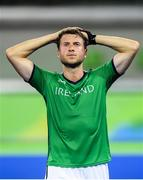 7 August 2016; Ireland's Kyle Good dejected after their Pool B match at the Olympic Hockey Centre, Deodoro, during the 2016 Rio Summer Olympic Games in Rio de Janeiro, Brazil. Picture by Brendan Moran/Sportsfile