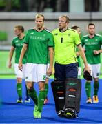 7 August 2016; Ireland's Conor Harte, left, and brother David Harte leave the pitch after their Pool B match at the Olympic Hockey Centre, Deodoro, during the 2016 Rio Summer Olympic Games in Rio de Janeiro, Brazil. Picture by Brendan Moran/Sportsfile