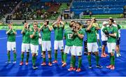 7 August 2016; Ireland players following their defeat to Netherlands in their Pool B match at the Olympic Hockey Centre, Deodoro, during the 2016 Rio Summer Olympic Games in Rio de Janeiro, Brazil. Picture by Brendan Moran/Sportsfile