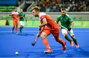 7 August 2016; Mink van der Weerden of Netherlands in action against Alan Sothern of Ireland during their Pool B match at the Olympic Hockey Centre, Deodoro, during the 2016 Rio Summer Olympic Games in Rio de Janeiro, Brazil. Photo by Brendan Moran/Sportsfile