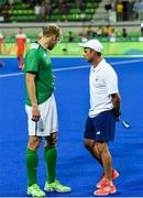 7 August 2016; Ireland coach Craig Fulton, left, and Conor Harte after their Pool B match at the Olympic Hockey Centre, Deodoro, during the 2016 Rio Summer Olympic Games in Rio de Janeiro, Brazil. Photo by Brendan Moran/Sportsfile