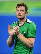 7 August 2016; John Jackson of Ireland applauds the supporters after their Pool B match against the Netherlands at the Olympic Hockey Centre, Deodoro, during the 2016 Rio Summer Olympic Games in Rio de Janeiro, Brazil. Photo by Brendan Moran/Sportsfile