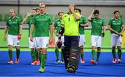 7 August 2016; Ireland players including Conor Harte, second from left, and brother David Harte leave the pitch after their Pool B match against the Netherlands at the Olympic Hockey Centre, Deodoro, during the 2016 Rio Summer Olympic Games in Rio de Janeiro, Brazil. Photo by Brendan Moran/Sportsfile