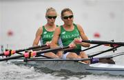 8 August 2016; Claire Lamb and Sinead Lynch of Ireland in action during the Women's Lightweight Double Sculls heats in Lagoa Stadium, Copacabana, during the 2016 Rio Summer Olympic Games in Rio de Janeiro, Brazil. Photo by Brendan Moran/Sportsfile