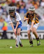 7 August 2016; Amy Kehoe, Ballygunner NS, Ballygunner, Waterford, in action against Annie Madden, St. Brigid's, Knockloughrim, Derry, representing Kilkenny, during the INTO Cumann na mBunscol GAA Respect Exhibition Go Games at the Kilkenny v Waterford GAA Hurling All-Ireland Senior Championship Semi-Final at Croke Park in Dublin. Photo by Piaras Ó Mídheach/Sportsfile