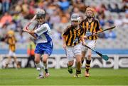 7 August 2016; Amy Kehoe, Ballygunner NS, Ballygunner, Waterford, in action against Annie Madden, St. Brigid's, Knockloughrim, Derry, centre, and Sinéad Mannion, Tisara NS, Four Roads, Roscommon, both representing Kilkenny, during the INTO Cumann na mBunscol GAA Respect Exhibition Go Games at the Kilkenny v Waterford GAA Hurling All-Ireland Senior Championship Semi-Final at Croke Park in Dublin. Photo by Piaras Ó Mídheach/Sportsfile