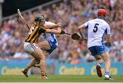 7 August 2016; Richie Hogan of Kilkenny in action against Jamie Barron of Waterford, supported by team-mate Tadhg de Búrca of Waterford, right, during the GAA Hurling All-Ireland Senior Championship Semi-Final match between Kilkenny and Waterford at Croke Park in Dublin. Photo by Piaras Ó Mídheach/Sportsfile