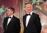 15 October 2010; Tipperary manager Liam Sheedy, left, and Cork manager Conor Counihan during the 2010 GAA All-Stars Awards, sponsored by Vodafone. Citywest Hotel & Conference Centre, Saggart, Co. Dublin. Picture credit: Brendan Moran / SPORTSFILE