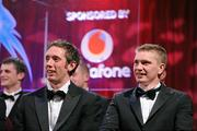 15 October 2010; GAA Hurling All-Star award winners Michael Fennelly, Kilkenny, and Brendan Maher, Tipperary, right, during the 2010 GAA All-Stars Awards, sponsored by Vodafone. Citywest Hotel & Conference Centre, Saggart, Co. Dublin. Picture credit: Brendan Moran / SPORTSFILE