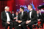 15 October 2010; RTE presenter Michael Lyster interviews GAA Football All-Star Player of the Year Bernard Brogan and GAA Hurling All-Star Player of the Year Lar Corbett, right, at the 2010 GAA All-Stars Awards, sponsored by Vodafone. Citywest Hotel & Conference Centre, Saggart, Co. Dublin. Picture credit: Brendan Moran / SPORTSFILE