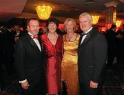 15 October 2010; Former GAA President Sean Kelly. MEP, left, accompanied by his wife Juliette with Aogan Farrell, President of the Ulster Council, and his wife Frances during the 2010 GAA All-Stars Awards, sponsored by Vodafone. Citywest Hotel & Conference Centre, Saggart, Co. Dublin. Picture credit: Ray McManus / SPORTSFILE