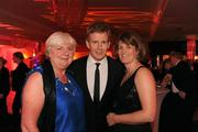 15 October 2010; Comedian Patrick Kielty with Rosemary Coyle, from Kingscourt, Co. Cavan, left, and Siobhan Brady, of the GAA Press Office, from Virginia, Co. Cavan, during the 2010 GAA All-Stars Awards, sponsored by Vodafone. Citywest Hotel & Conference Centre, Saggart, Co. Dublin. Picture credit: Ray McManus / SPORTSFILE