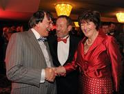 15 October 2010; Former GAA President Sean Kelly. MEP, accompanied by his wife Juliette with Louth GAA Stalwart Charlie McAlester, left, during the 2010 GAA All-Stars Awards, sponsored by Vodafone. Citywest Hotel & Conference Centre, Saggart, Co. Dublin. Picture credit: Ray McManus / SPORTSFILE