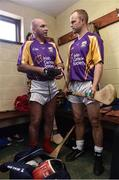 9 August 2016; Former Kilkenny players DJ Carey, left, and Tommy Walsh before the fifth annual Hurling for Cancer Research, a celebrity hurling match in aid of the Irish Cancer Society in St Conleth's Park, Newbridge. Ireland's top GAA and horseracing stars lined out for the game, organised by horseracing trainer Jim Bolger and National Hunt jockey Davy Russell. To date the event has raised €400,000 for the Irish Cancer Society, the leading voluntary funder of cancer research in Ireland. St Conleth's Park, Newbridge, Kildare. Photo by David Maher/Sportsfile