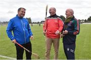 9 August 2016; Clare hurling manager Davy Fitzgerald, left, with former Kilkenny player DJ Carey, centre, and former Galway hurling manager Cyril Farrell before the fifth annual Hurling for Cancer Research, a celebrity hurling match in aid of the Irish Cancer Society in St Conleth's Park, Newbridge. Ireland's top GAA and horseracing stars lined out for the game, organised by horseracing trainer Jim Bolger and National Hunt jockey Davy Russell. To date the event has raised €400,000 for the Irish Cancer Society, the leading voluntary funder of cancer research in Ireland. St Conleth's Park, Newbridge, Kildare. Photo by David Maher/Sportsfile