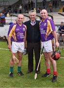 9 August 2016; Horse trainer Jim Bolger, centre, with former Kilkenny players, Charlie Carter, left, and DJ Carey after the fifth annual Hurling for Cancer Research, a celebrity hurling match in aid of the Irish Cancer Society in St Conleth's Park, Newbridge.   Ireland's top GAA and horseracing stars lined out for the game, organised by horseracing trainer Jim Bolger and National Hunt jockey Davy Russell. To date the event has raised €400,000 for the Irish Cancer Society, the leading voluntary funder of cancer research in Ireland. St Conleth's Park, Newbridge, Kildare. Photo by David Maher/Sportsfile