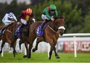 11 August 2016; Sharliyna, with Pat Smullen up, on their way to winning the Irish Stallion Farms European Breeders Fund Fillies Maiden ahead of Truffles, with Gary Carroll up, and White Lotus, with Kevin Manning up, at Leopardstown Racecourse in Dublin. Photo by Cody Glenn/Sportsfile