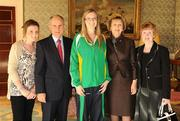 27 October 2010; TEAM Ireland member Siobhan Dunne, from Strabane, Co. Tyrone, who earned a 4th place ribbon in the Women's 7-aside football at the 2010 Special Olympics European Games, with President Mary McAleese, Dr. Martin McAleese, alongside Susan Coyle and Mairead Dunne at a reception to celebrate their achievements in Aras an Uachtarain, Phoenix Park, Dublin. Picture credit: Ray McManus / SPORTSFILE