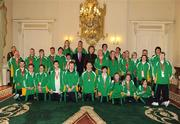 27 October 2010; TEAM Ireland members Therese Nolan, Cathy Fitzgerald, Hugh Mohan, Mary Melia, Breffni McCarthy, Niall Flynn, Mark Bolger, Robert McNamara, Nicolle Smith, Bernadette Kennedy, Ruth Geerah, Riobard Lankford, Darren Day, Kyle Norton, Monica Kilgannon, James Crowe, Emma Chalmers, Dermot Leavy, Andrea Buckley, Kim Byrne, Diane Mitchell, Linda Cannon, Fionnuala Treacy, Karina Houlihan, Catherine McCarthy, Mary Strain, Siobhan Dunne, Nicola McIntyre, Francis Power, Leah Breen, Doreen McGreevy, Sarah Shaw, Philip Patton and Gerard McCormack who all competed in the the 2010 Special Olympics European Games, in Warsaw, Poland, with President Mary McAleese and Dr. Martin McAleese at a reception to celebrate their achievements in Aras an Uachtarain, Phoenix Park, Dublin. Picture credit: Ray McManus / SPORTSFILE