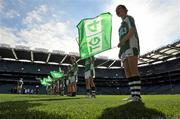 26 September 2010; A general view of flagbearers at the game. TG4 All-Ireland Junior Ladies Football Championship Final, Louth v Limerick, Croke Park, Dublin. Picture credit: Brendan Moran / SPORTSFILE